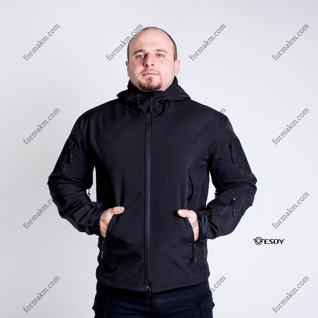Тактическая Куртка Soft Shell ESDY TAC.-01 Black непромокаемая