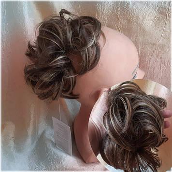 Резинка шиньон из волос темно-русый микс 0215А-8Н124