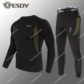 Термобелье Мужское быстросохнущее ESDY Black ( комплект термобелья )