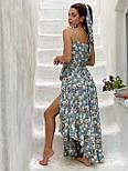 Принтованный летний сарафан с резинкой на талии и асимметричной юбкой 58031442, фото 4
