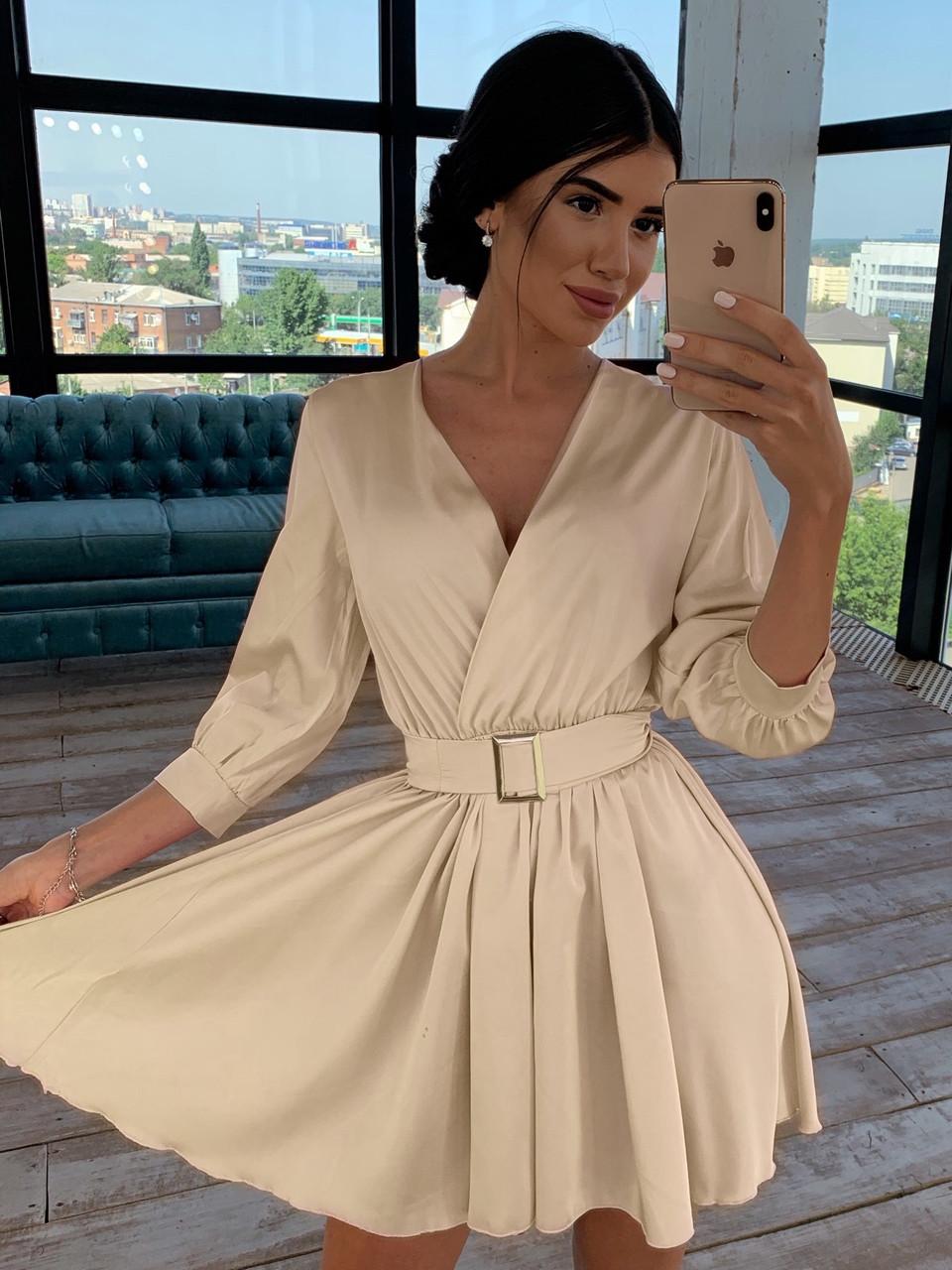 Шелковое платье с расклешенной юбкой и верхом на запах 66031447Q