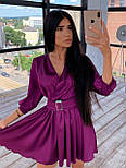 Шелковое платье с расклешенной юбкой и верхом на запах 66031447Q, фото 7