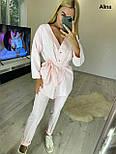Женский брючный костюм двойка с удлиненной рубашкой под пояс 3810996, фото 5
