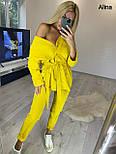 Женский брючный костюм двойка с удлиненной рубашкой под пояс 3810996, фото 6