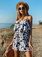Женский принтованный летний комбинезон на бретелях с рюшей на груди 22101007, фото 1