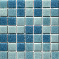 Мозаика голубой микс стекло на бумаге А30-218083