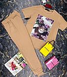 Брючный женский костюм двойка с зауженными штанами на манжетах и футболкой 27101009, фото 2
