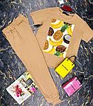 Брючный женский костюм двойка с зауженными штанами на манжетах и футболкой 27101009, фото 3