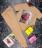 Брючный женский костюм двойка с зауженными штанами на манжетах и футболкой 27101009, фото 4