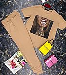 Брючный женский костюм двойка с зауженными штанами на манжетах и футболкой 27101009, фото 5
