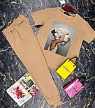 Брючный женский костюм двойка с зауженными штанами на манжетах и футболкой 27101009, фото 6