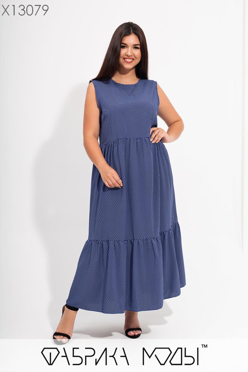 Летнее длинное платье в больших размерах с расклешенной юбкой - трапецией 115728