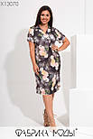 Прямое летнее платье в больших размерах в цветочный принт с коротким рукавом 115730, фото 2