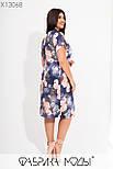 Прямое летнее платье в больших размерах в цветочный принт с коротким рукавом 115730, фото 5