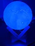 Лампа Луна 3D Moon Lamp. Настольный светильник луна Magic 3D. 3D ночник, светильник на сенсорном управлении, фото 10