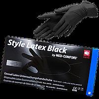 """Перчатки черные латексные неопудренные М """"Style Latex Black"""",1уп/100 шт"""