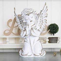 Статуэтка из полистоуна Ангел молящийся 30 см белый с золотом