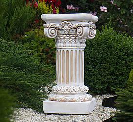 Садовая колонна круглая в бежевом цвете 66х35х35 см