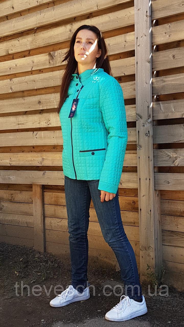 Бірюзова стьобана куртка демісезонна розміри 48 - 58