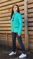 Бирюзовая демисезонная стеганая куртка размеры 48 - 58