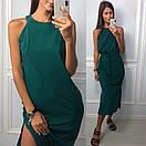 Прямое длинное платье под пояс без рукава с разрезом на ноге 83py1436, фото 2