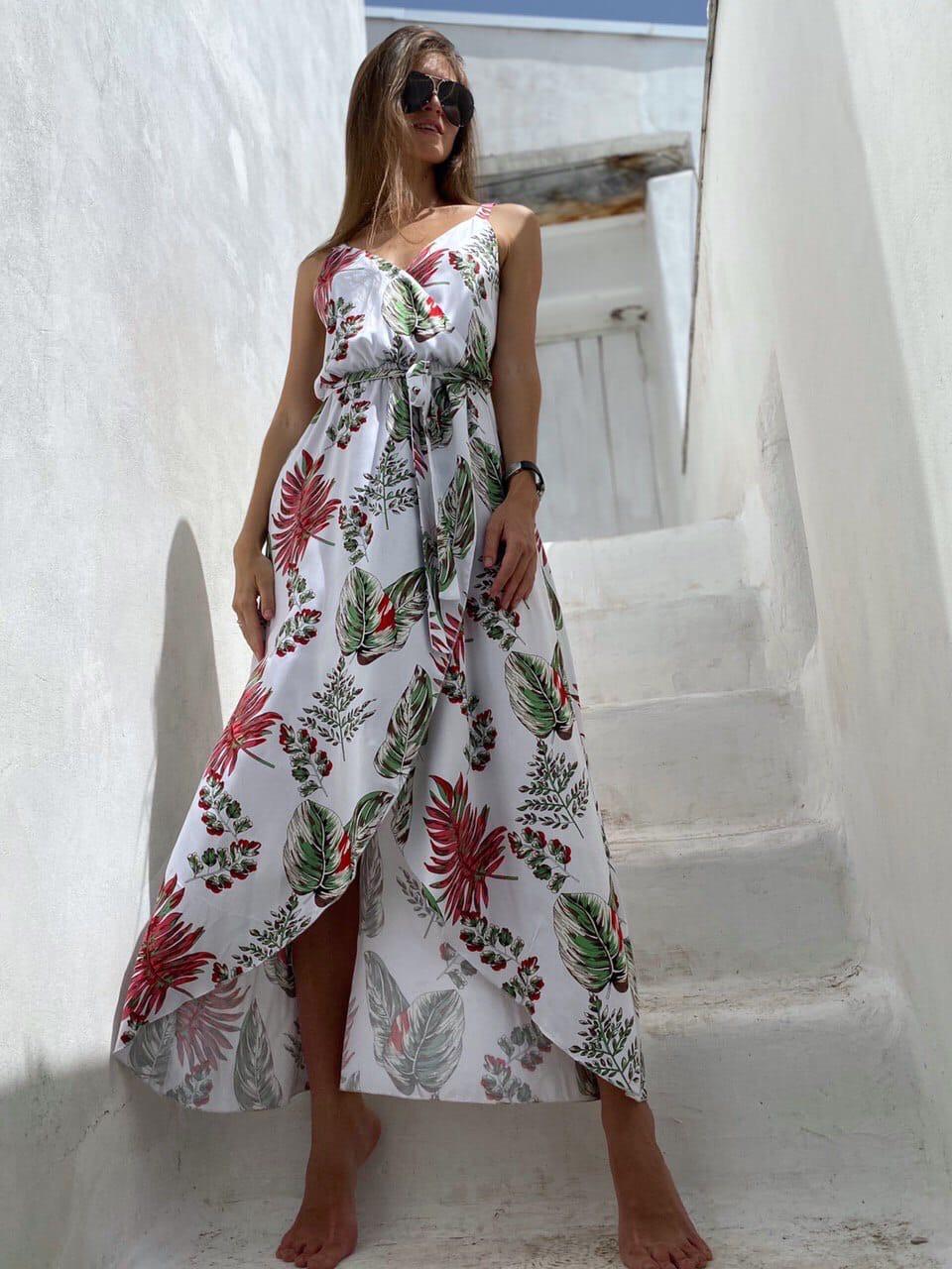 Летнее платье в растительный принт с верхом на запах и асимметричной длинной юбкой 83py1437