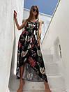 Летнее платье в растительный принт с верхом на запах и асимметричной длинной юбкой 83py1437, фото 2