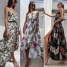 Летнее платье в растительный принт с верхом на запах и асимметричной длинной юбкой 83py1437, фото 3