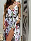 Летнее платье в растительный принт с верхом на запах и асимметричной длинной юбкой 83py1437, фото 4