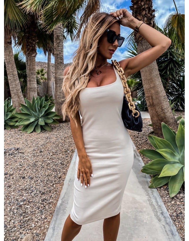 Облегающее платье - майка до колен в расцветках 73py1439