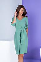 Арт. 400 Женское летнее платье на пуговицах с поясом серо-мятного цвета/ морская пена