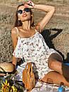 Женский принтованный летний комбинезон на бретелях с рюшей на груди 22ks1007, фото 8