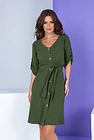 Арт. 400 Женское летнее платье на пуговицах с поясом зеленое/ зеленый лес