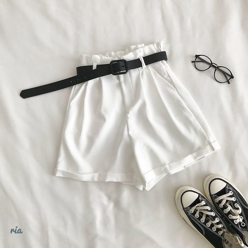 Женские летние шорты на высокой посадке с резинкой на талии и поясом 77sw20