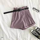 Женские летние шорты на высокой посадке с резинкой на талии и поясом 77sw20, фото 4
