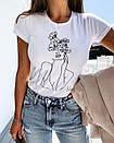Белая женская футболка с рисунком на груди 27ma354, фото 3