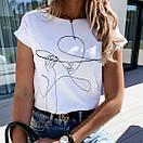 Белая женская футболка с рисунком на груди 27ma354, фото 4
