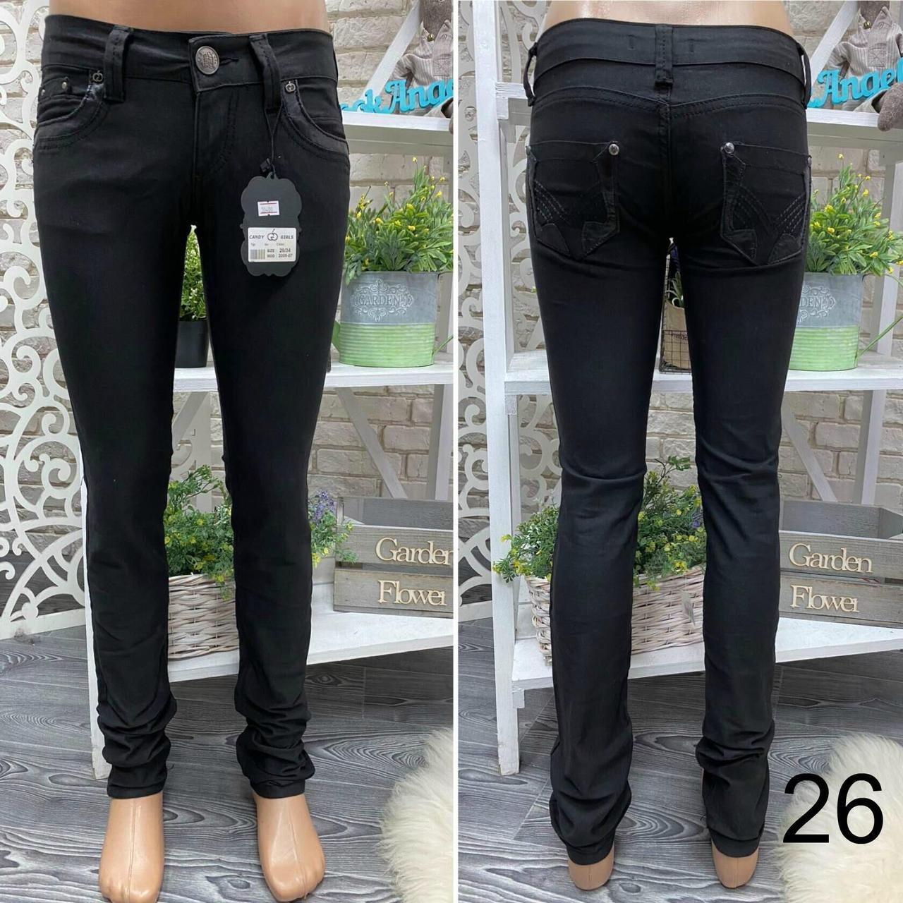 """Стильные черные штаны прямого кроя со вставками из эко-кожи, ткань """"Джинс"""" 26, 27 размер 26"""