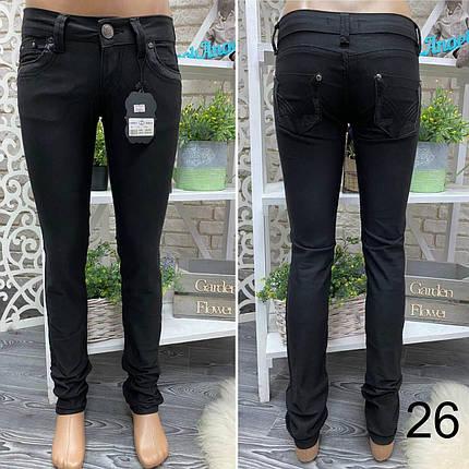 """Стильные черные штаны прямого кроя со вставками из эко-кожи, ткань """"Джинс"""" 26, 27 размер 26, фото 2"""
