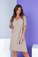 Арт. 400 Женское летнее платье на пуговицах с поясом серо-бежевое/ пепельный беж