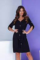 Арт. 400 Женское летнее платье на пуговицах с поясом черное/ черного цвета