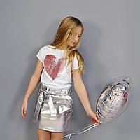 Футболка белая принт розовое сердце пайетка на девочку-подростка рост 140-176