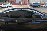 Дефлектори вікон хромовані (вітровики) Hyundai Accent 2010-2017 (Auto Clover A482), фото 8