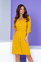 Арт. 400 Летнее платье на пуговицах с поясом желтое/ шафран