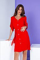 Летнее платье на пуговицах с поясом красное/ красного цвета Арт. 400