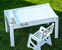 Детский столик-песочница с подсветкой и стульчиком Noofik(c двумя карманами)