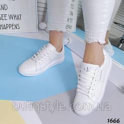 Женские белые кеды на шнуровке натуральная кожа