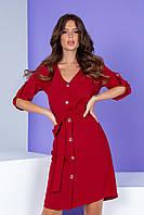 Летнее платье на пуговицах с поясом темно-красное/ вишневого цвета Арт. 400