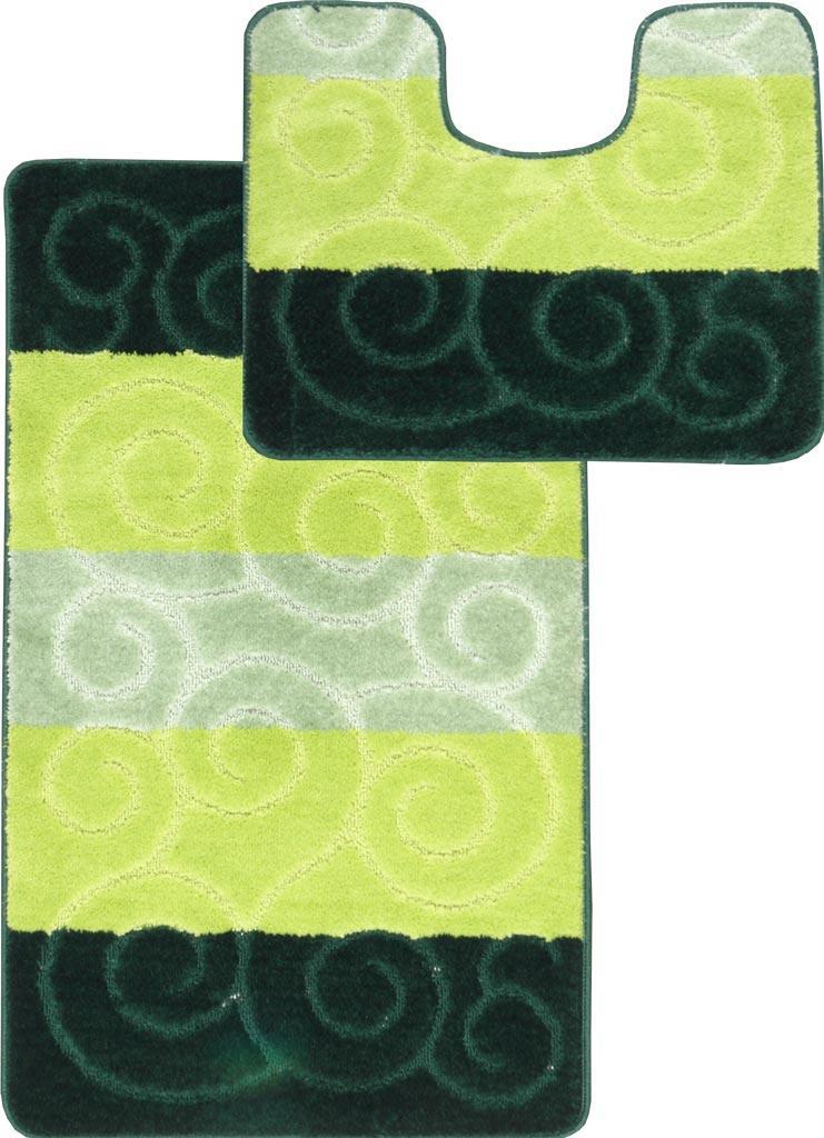 Набор ковриков для ванной и туалета на резиновой основе Hali Circles 2шт 50х80 и 50х40см Зеленый (6147)