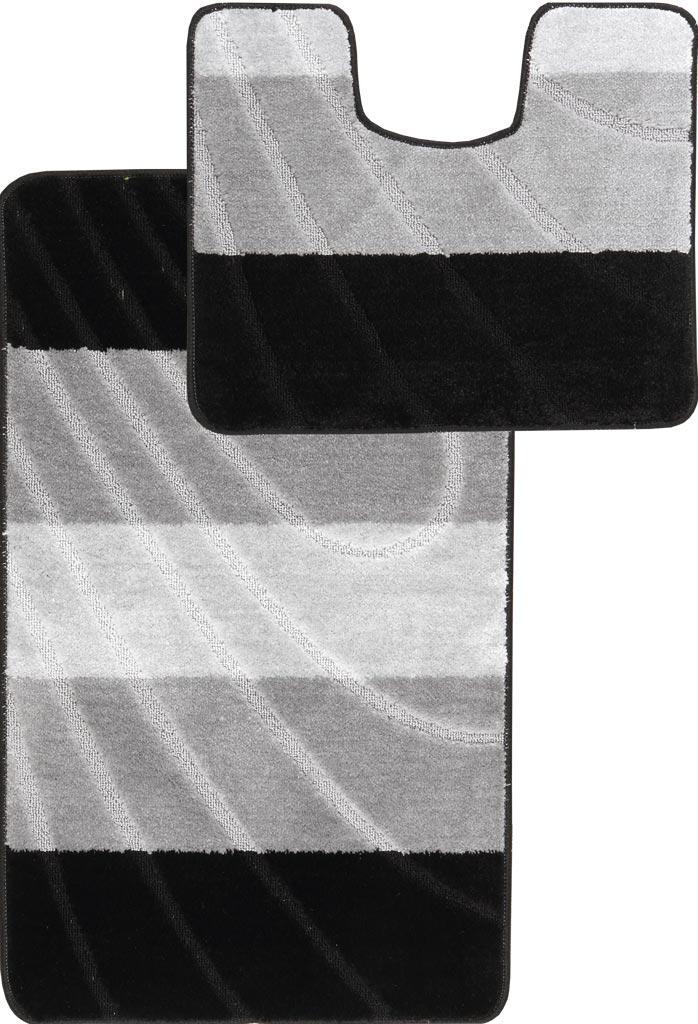 Набор ковриков для ванной и туалета на резиновой основе Hali Полосы 2шт 60х100 и 60х50см Серый с черным (6112)